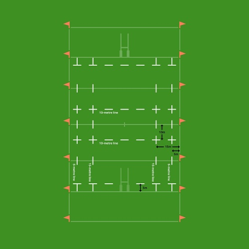 Rugby pitch dashed line marking diagram
