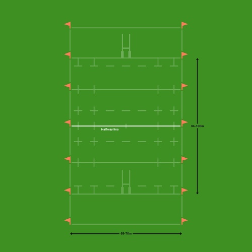 Rugby pitch halfway line marking diagram