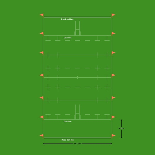 Rugby pitch dead ball line marking diagram
